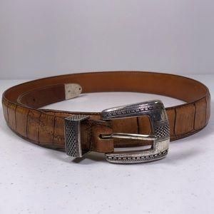 Onyx by Brighton Crocodile Print Leather Belt